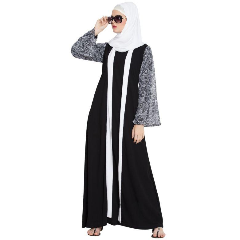 Callista-Printed Sleeves Cloced Shrug Abaya-Black-White