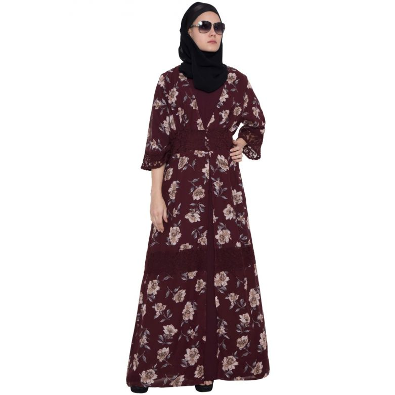 Maroon Print-Shrug Abaya