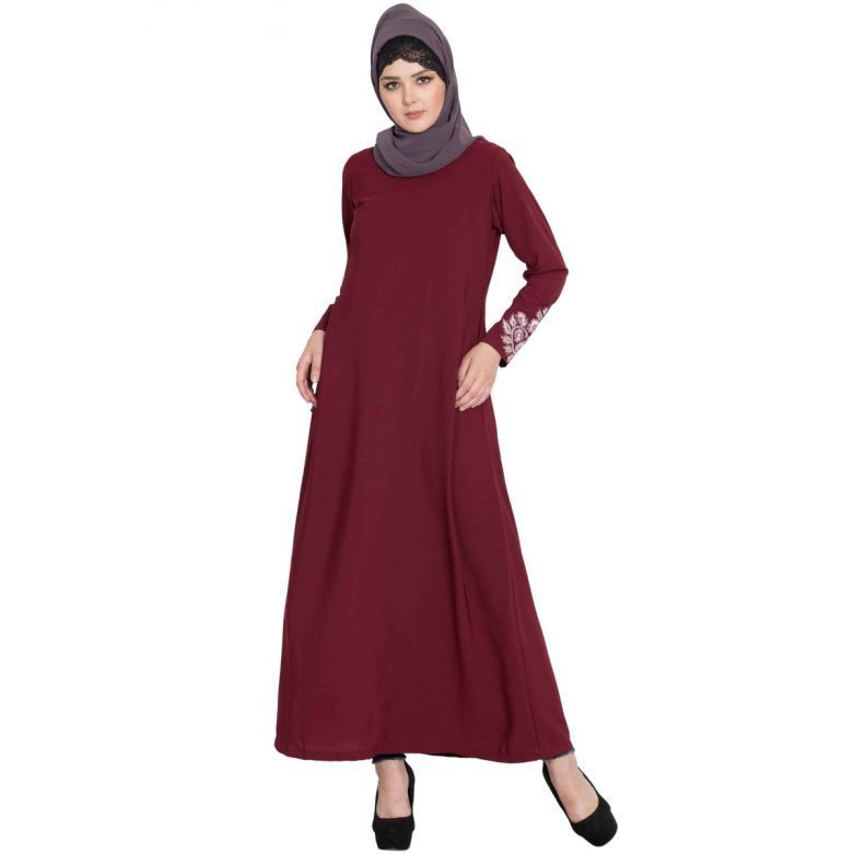 Abaya With Pockets & Embroidery On Sleeves-Maroon