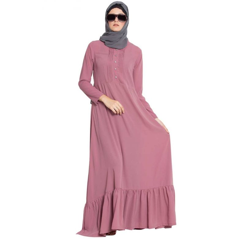 Aini-Frilled Abaya Dress With Pintucks-Puce Pink-Nida Matt
