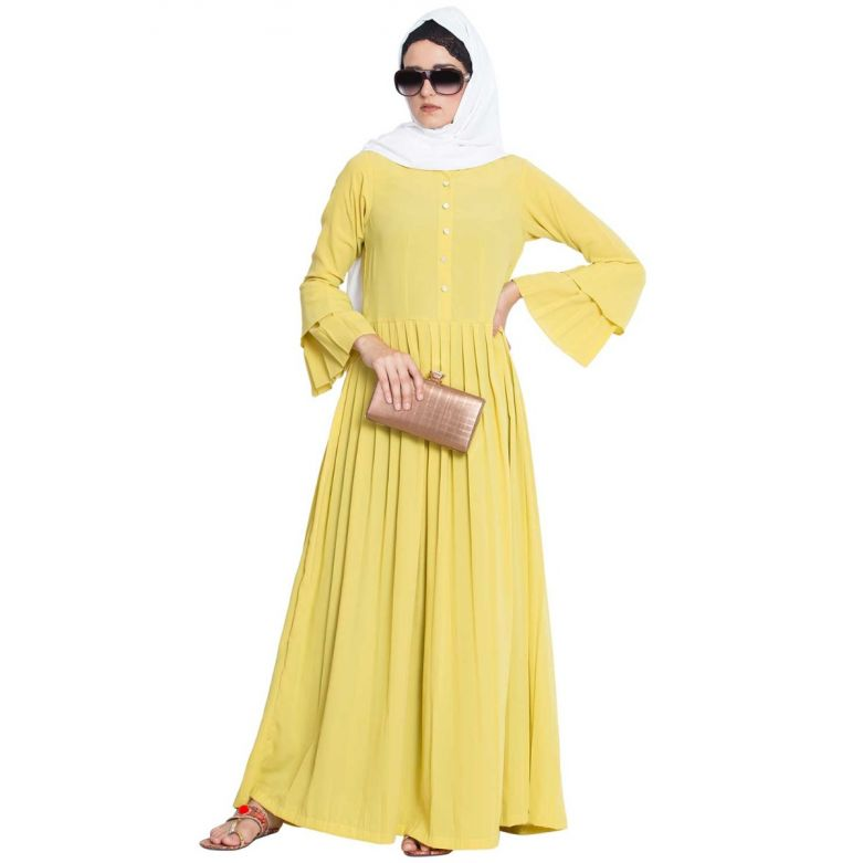 Basma-Casual Abaya Dress With Multipal Plits And Double Sleeves-Lemon Yellow-Nida Matt