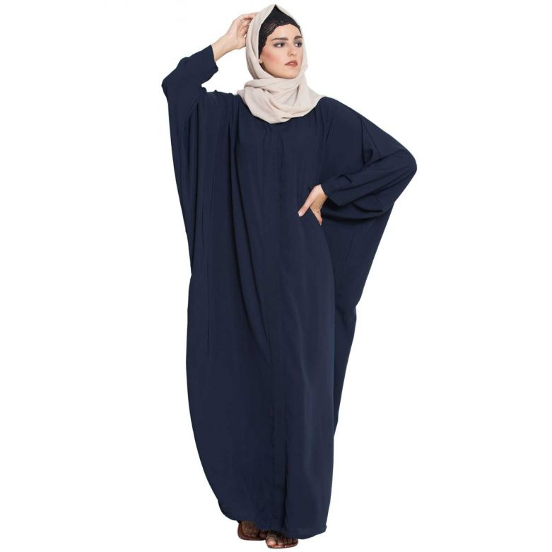 Afifa-Front Open Kaftan Abaya With Snap-Bottons-Navy Blue-Nida Matt