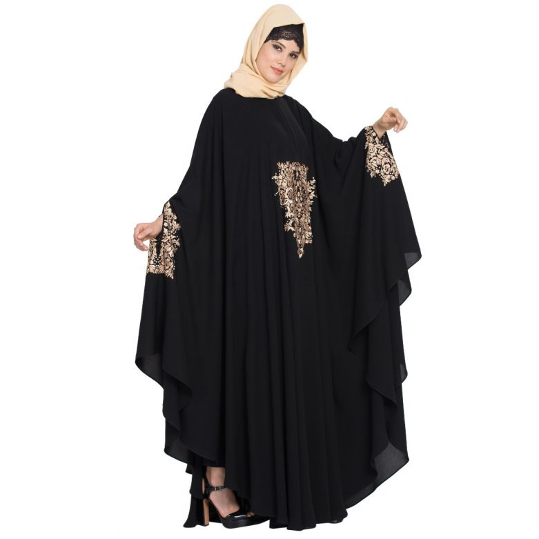 Embroidered Irani kaftan in Free Size - Black-Golden