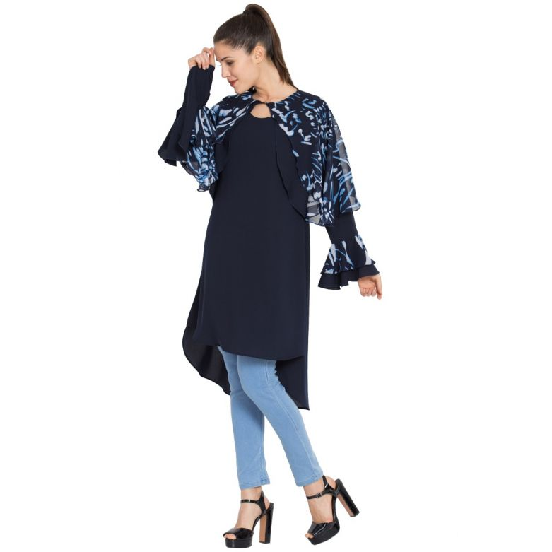 Modest-Designer Kurti-Blue-White
