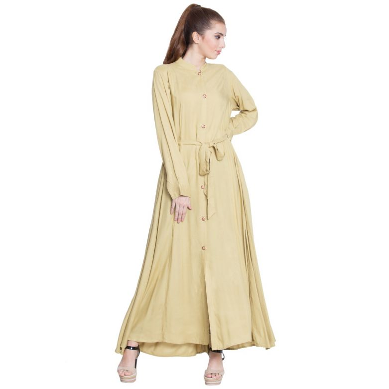 Tuba-Front Open Dress With Belt