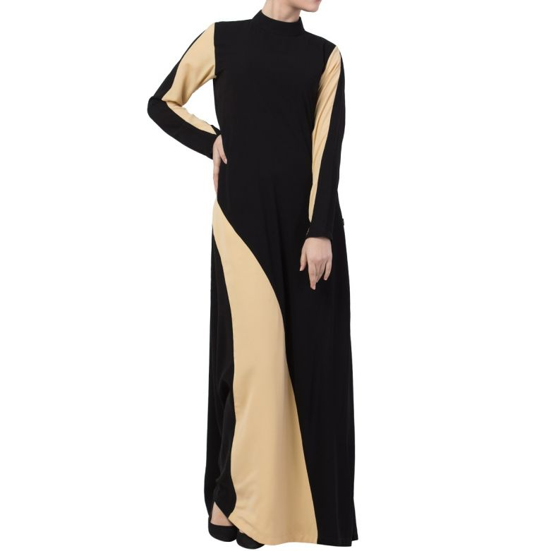 Modest Dress in Dual Color With Inserted Panels