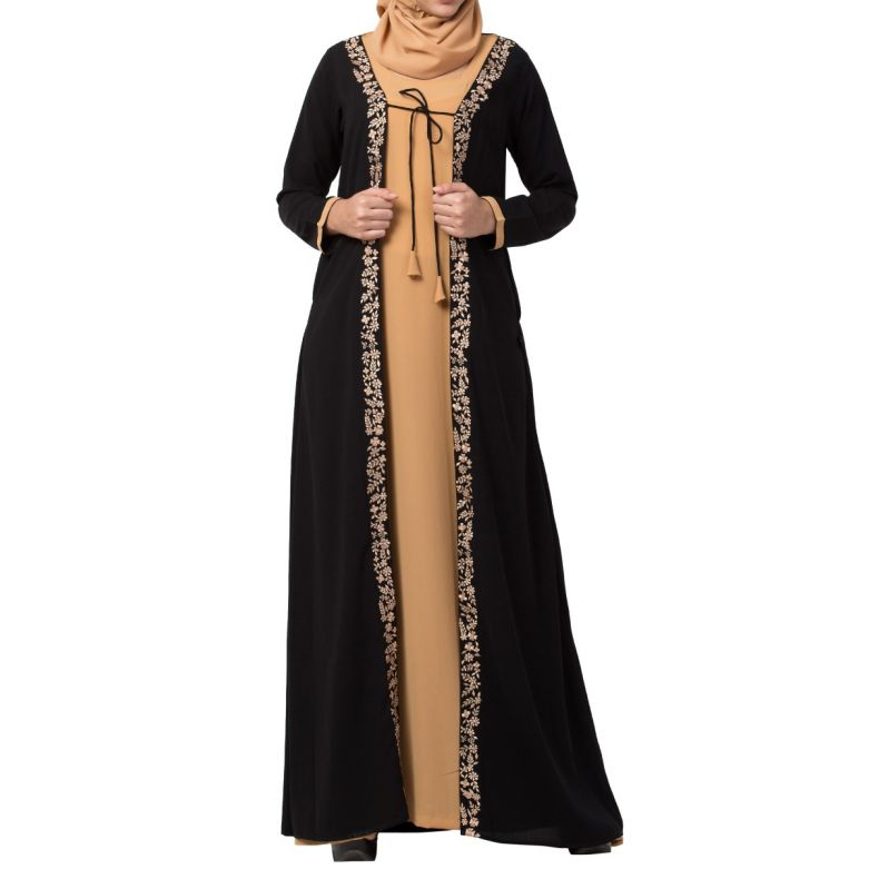 Two Piece Set of Abaya and Embroidered Cardigan