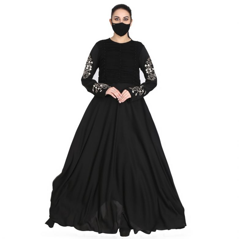 Mushkiya-Designer Dress In Abaya Fit With Embroidery.