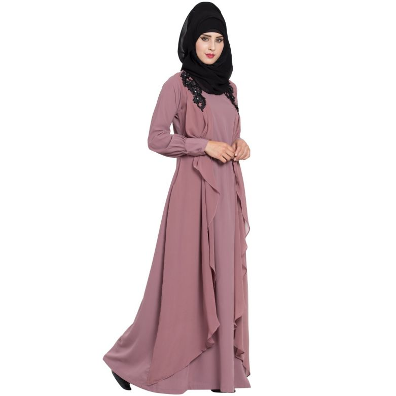 Modern Abaya Dress In Dual Layer-Puce Pink