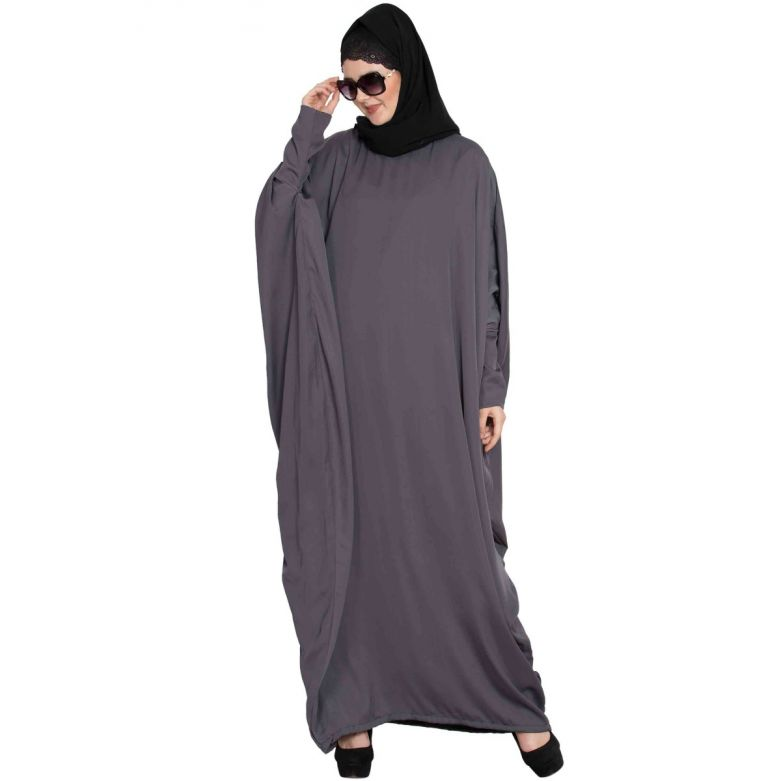 ASBAH- MODEST KAFTAN WITH TRENDY SLEEVES-GREY