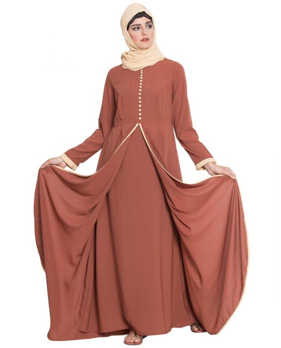 Hind-Multi Layer Abaya Dress With Frills And Loop Bottons-Rust-Nida