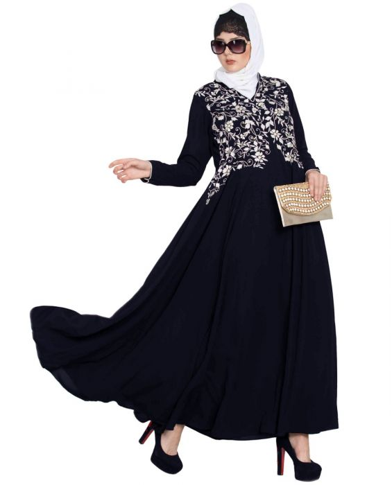 Umbrella Cut Designer Burkha with Embroidery