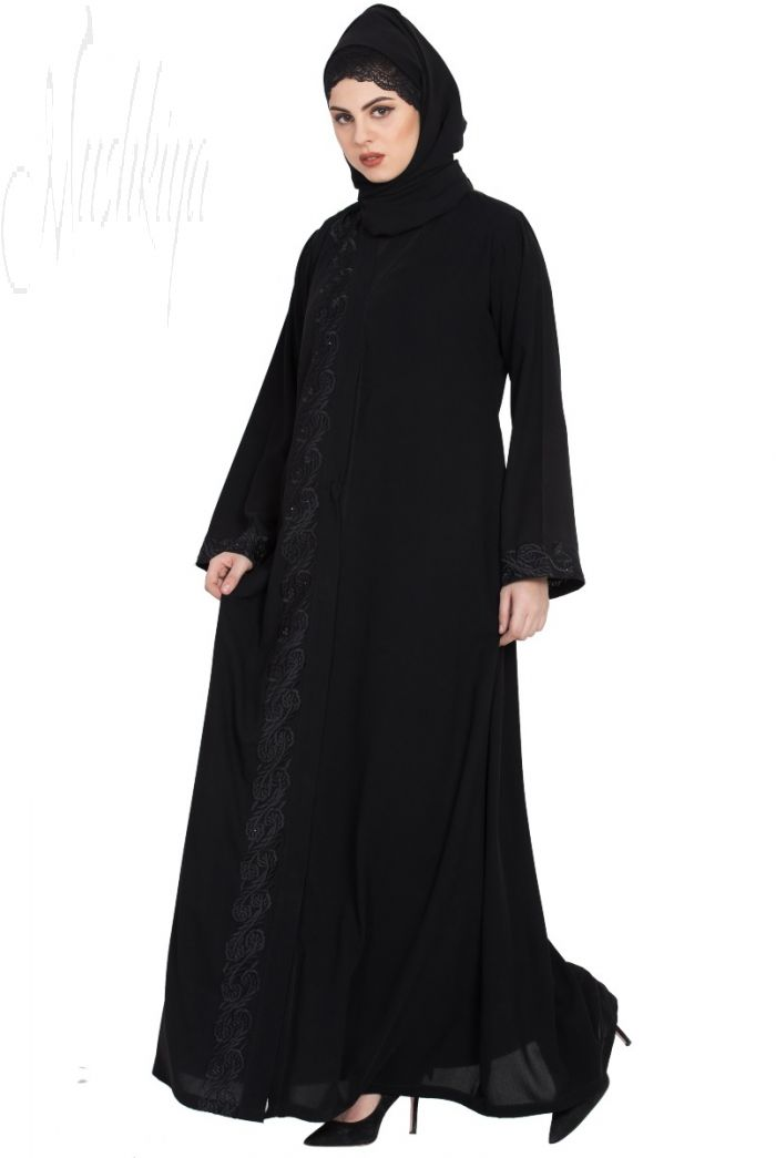 Front Open Burqa with Embroidery