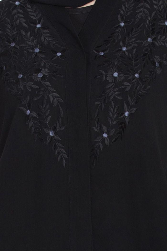 Simple yet Stylish Front Open-Embroidered Abaya Black