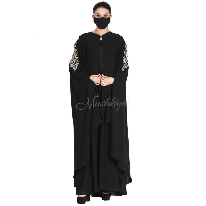 Mushkiya-3 Pieces Set-Kaftan With Embroidery On Shoulders With A Separate Inner Abaya And A Matching Hijab.