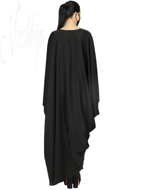 Elegant Black Kaftan With A Printed Panel Inserted Within. It Comes With A Printed Matching Hijab.