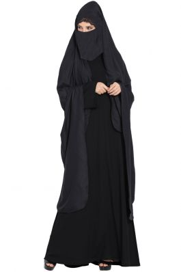 Irani Chadar-Rida Hijab with Detachable Nose Piece-Made in Rayon-Black