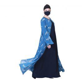 Three Pieces Set Of An Inner Abaya, A Printed Designer Shrug And A Matching Hijab