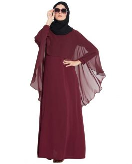 Color Abaya With Attached Cape|Online Abaya Shopping-Maroon