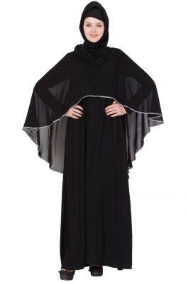 Buy Designer Burqa Online Beautiful Cape Abaya-Black-Grey