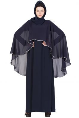 Buy Designer Abaya Online|Beautiful Cape Abaya-Blue-Grey