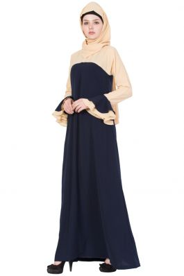Daily Wear Abaya with Bell Sleeves-Blue-Beige