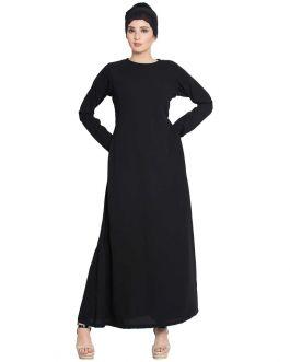 Simple Burqa | A Line Burqa with Side Pockets-Black