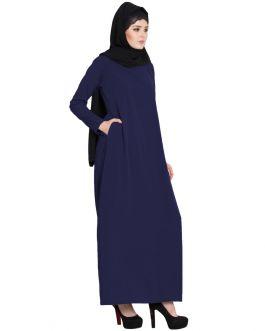 A Line Abaya | Simple Abaya with Side Pockets-Navy Blue