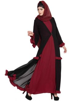 ZEBA-DOUBLE LAYER ABAYA WITH FRILLS-MAROON-BLACK