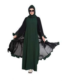 Zeba-Double Layer Abaya With Frills-Green-Black