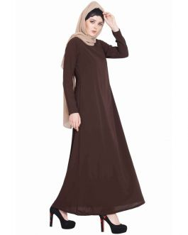 Very Simple Burqa| Burqa with Pockets-Brown