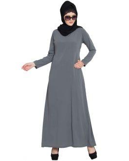 Simple Abaya | Colorful Abaya With Side Pockets-Grey