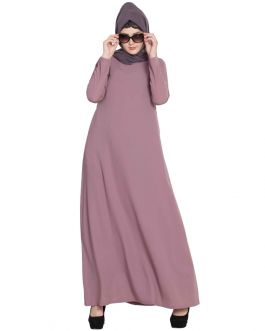 Simple Abaya | Colourful Abaya With Side Pockets-Puce Pink