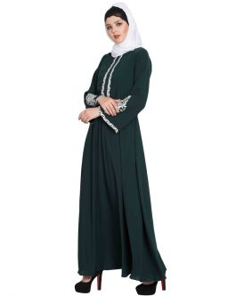 Embroidered Dress With Flared Bottom - Not An Abaya