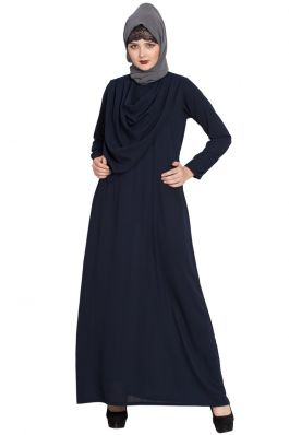 ATIA-MODEST ABAYA  WITH ATTACHED SHAWL-NAVY BLUE