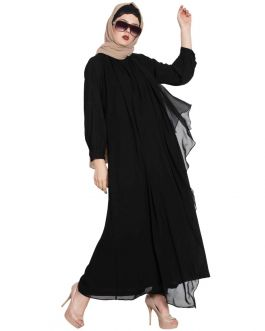 ANEEQA- BEAUTIFUL ABAYA WITH ATTACHED GEORGETTE LAYER-BLACK
