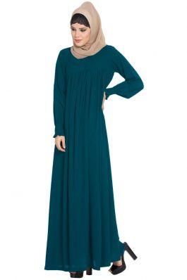 Printed Blue Double Layer Beautiful Shrug Abaya from Mushkiya.com