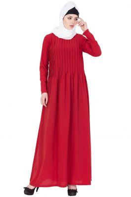 Colored Abaya Design with Pin Tucks