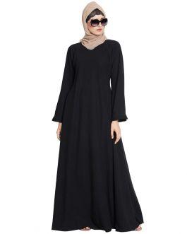Rimsha-Abaya Dress With Umbrella Bottom And Frill On Sleeves-Black