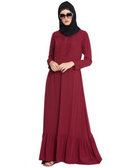 Long Dress With Frills and Yole Buttons -Not An Abaya