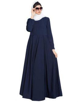 Wafa-A Beautifull Simple Abaya Dress-Navy Blue