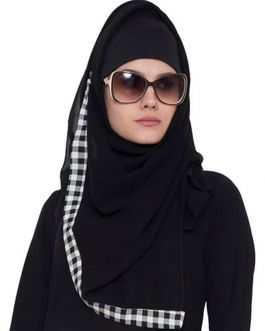 Black Georgette Hijab With Black & White Border