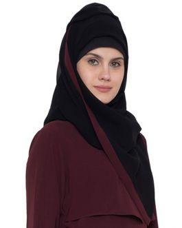 Black Georgette Hijab With Wine Color Border