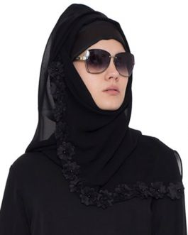 Designer Hijab With Floral Lace