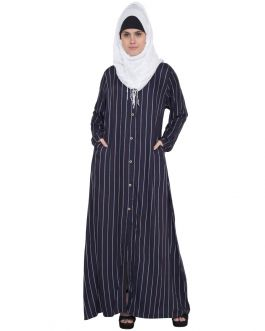 Navy Blue Stripe-Abaya dress