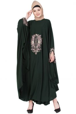 Embroidered Irani kaftan in Free Size - Dark Green