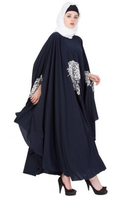 Embroidered Irani kaftan in Free Size- Navy Blue