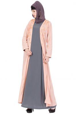 Stylish Abaya with Embroidery | Two Pc Set- Pink & Gray