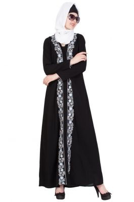 Front Open-Embroidered Abaya- Black
