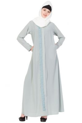 Front Open-Embroidered Abaya- Sea Green